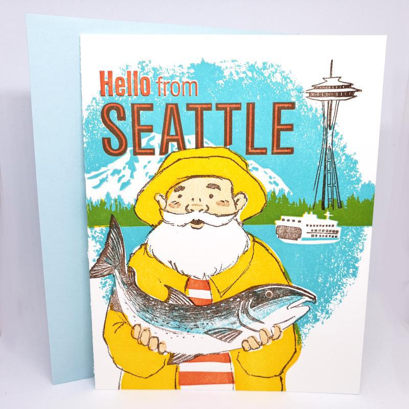 Card - Seattle - Fisherman Hello from Seattle by Ilee Papergoods