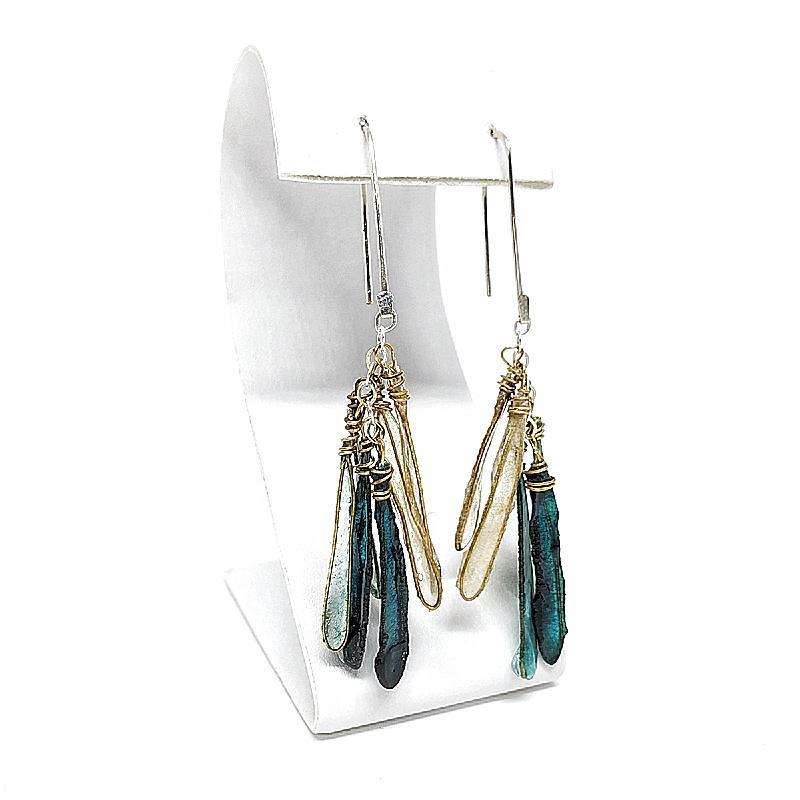 Earrings - Small Dragonfly Emerald Ombre by Verso Jewelry