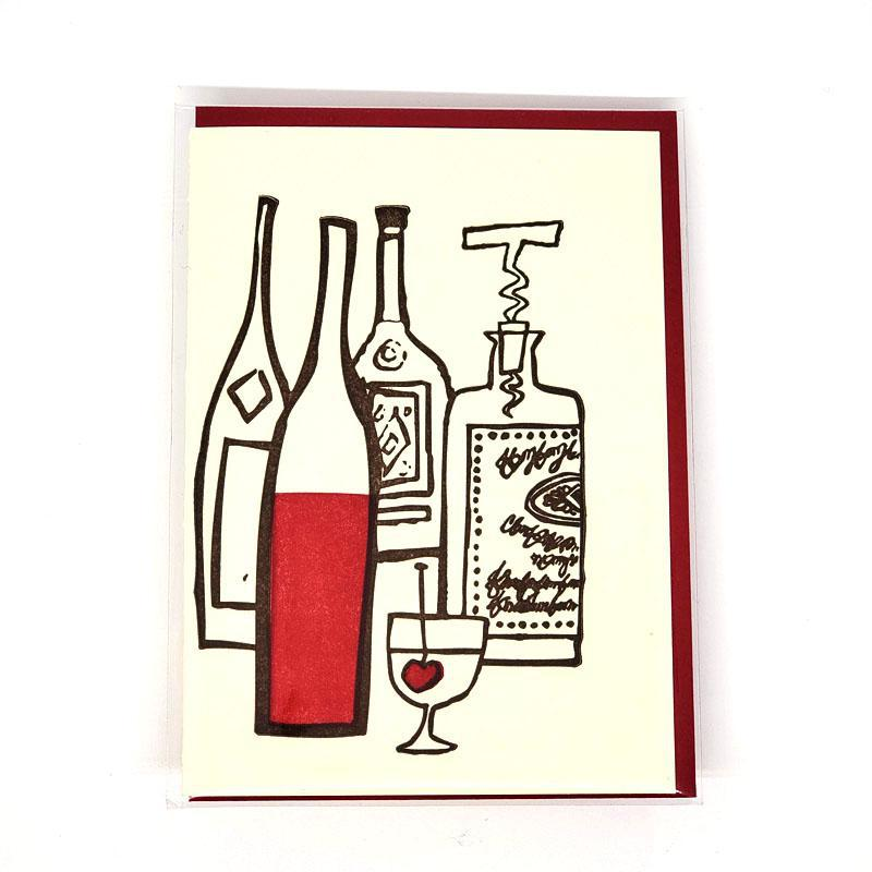 Card - Love & Friends - Drinks Wine Bottles by Ilee Papergoods