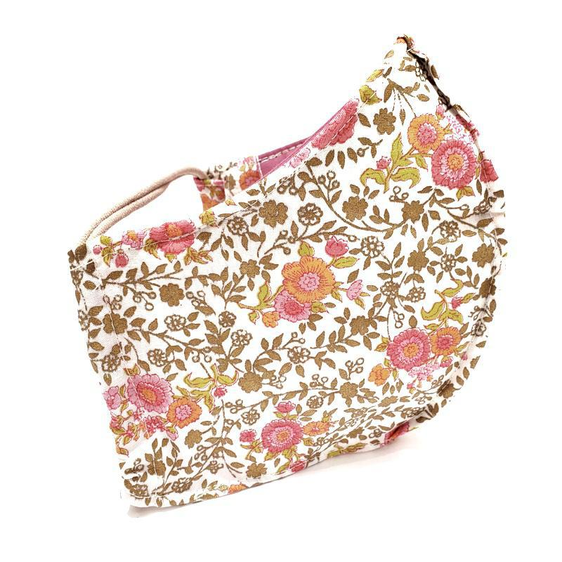 Small - Pink Orange Gold Floral Twill (Self-lined) by imakecutestuff
