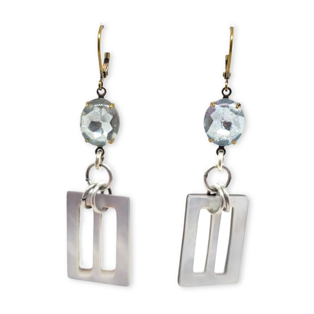 Earrings -  Mother of Pearl Buckles and Silver Blue Glass Jewels Vintage Duo by Christine Stoll Studio