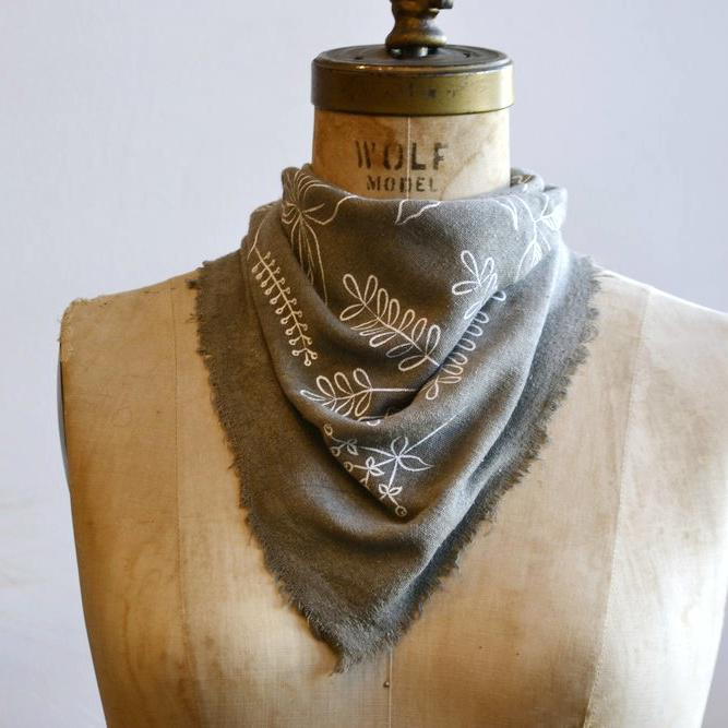Bandana - Stone Grey Botanical by Eco Raw Studio