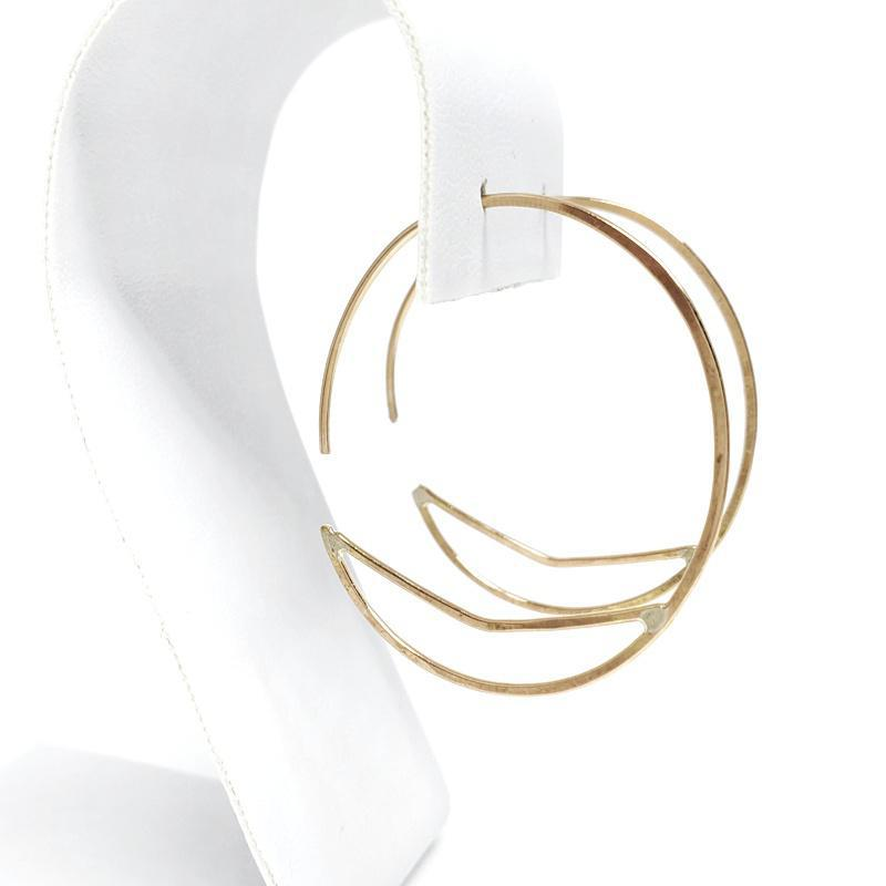 Earrings - Small Chevron Gold Fill Hoops by Verso Jewelry