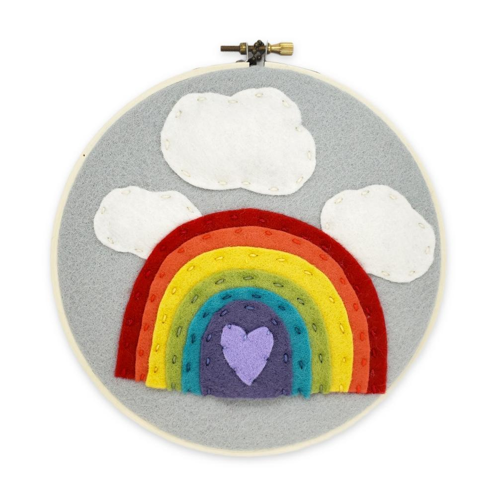 Hoop Art - Rainbow with Clouds Above 6in by Catshy Crafts