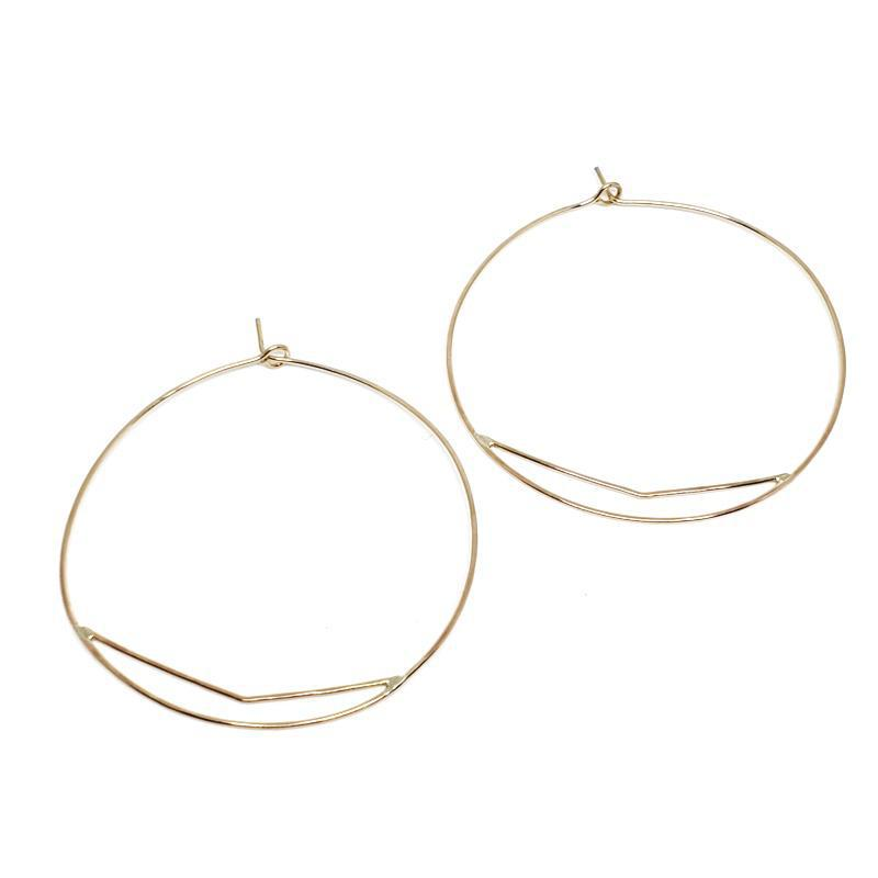 Earrings - Large Chevron Hoops Gold-fill by Verso