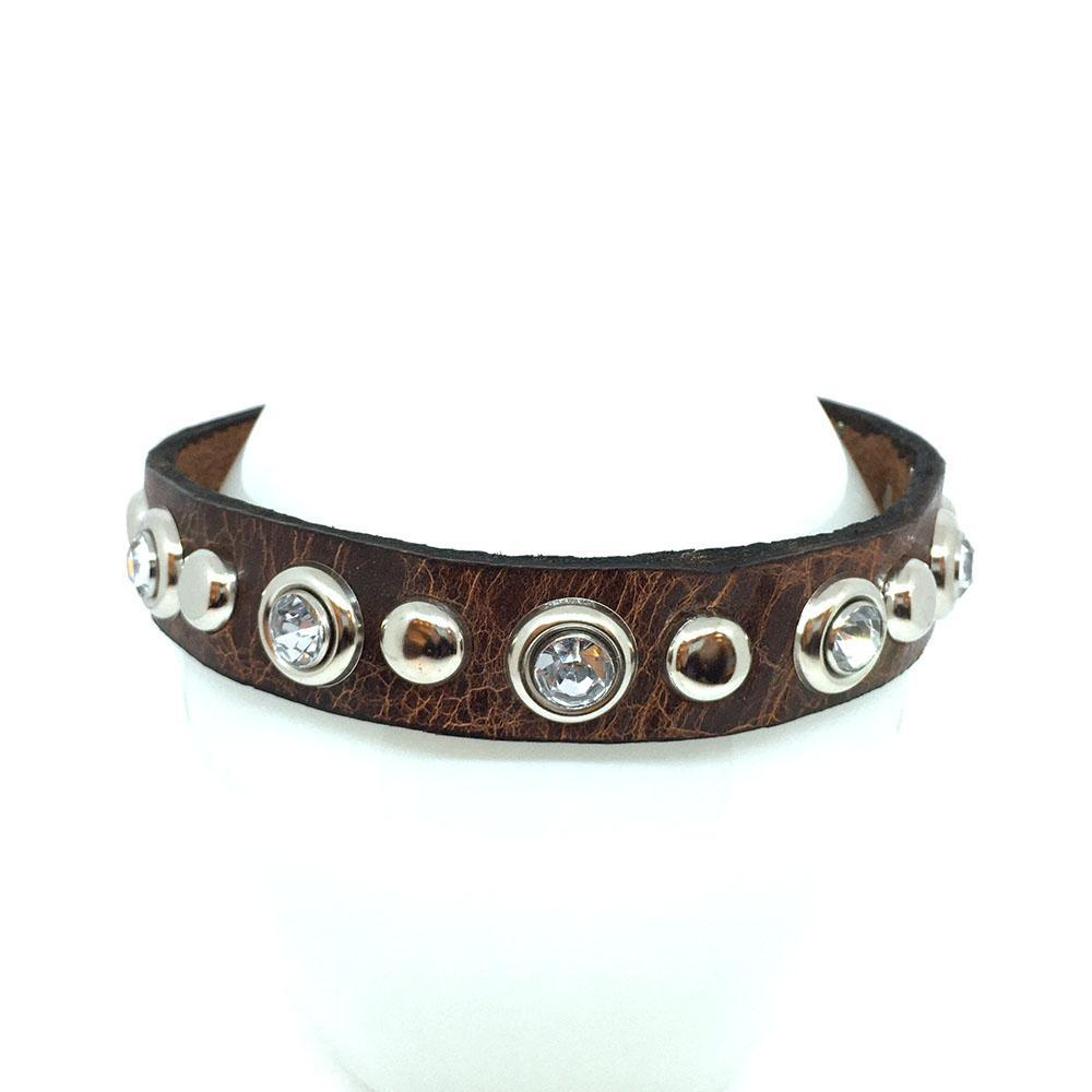 Dog Collar - Med - Brown with Crystals by Greenbelts