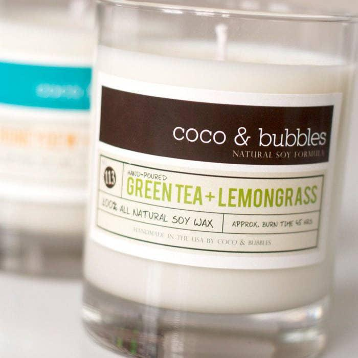 Candle 13oz - Green Tea & Lemongrass by Coco & Bubbles