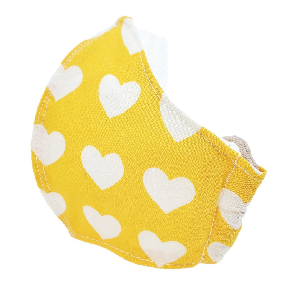 Small - White Hearts on Yellow White Lining by imakecutestuff