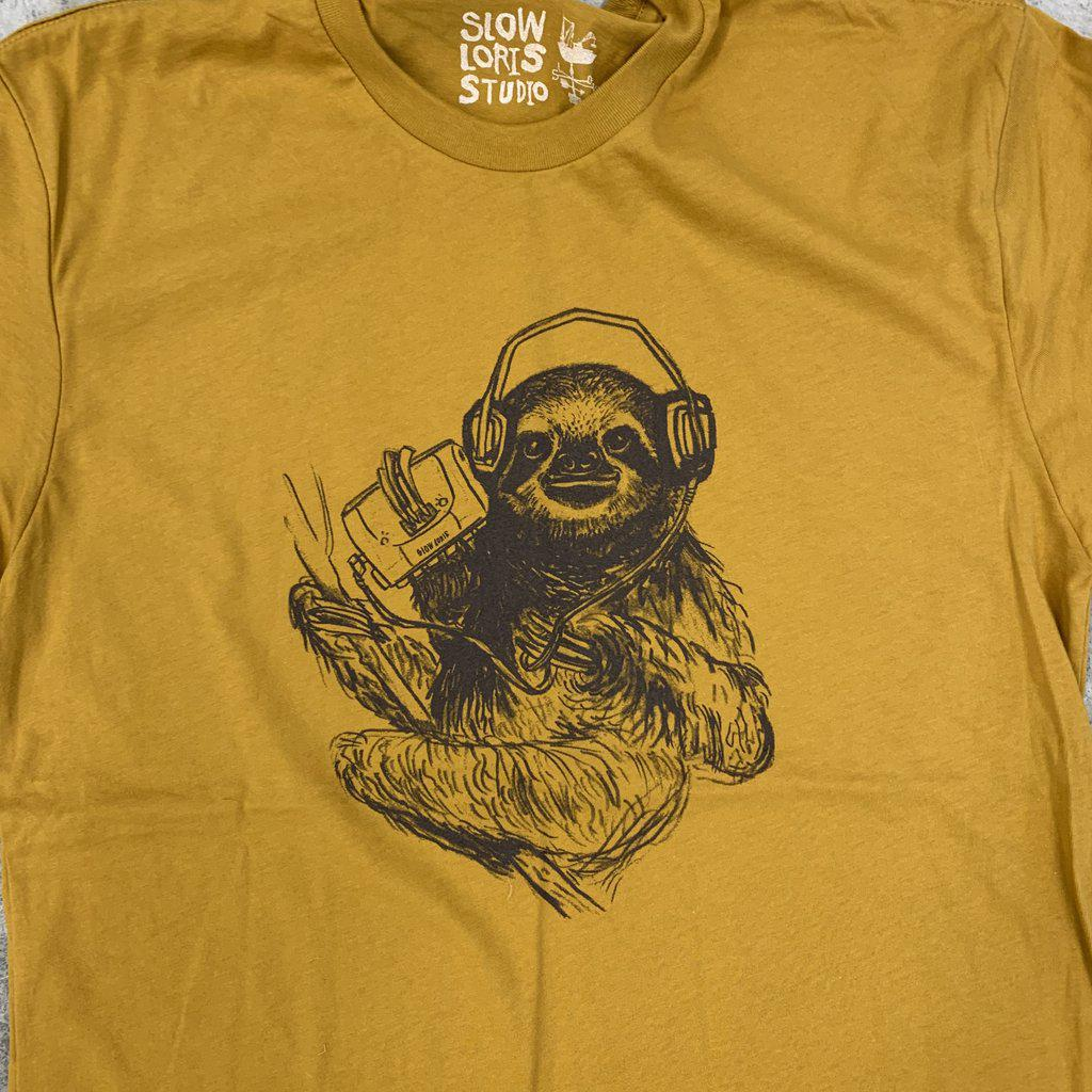 Adult SLOW JAMS SLOTH (SJ) Curry Crew Neck Tee by Slow Loris