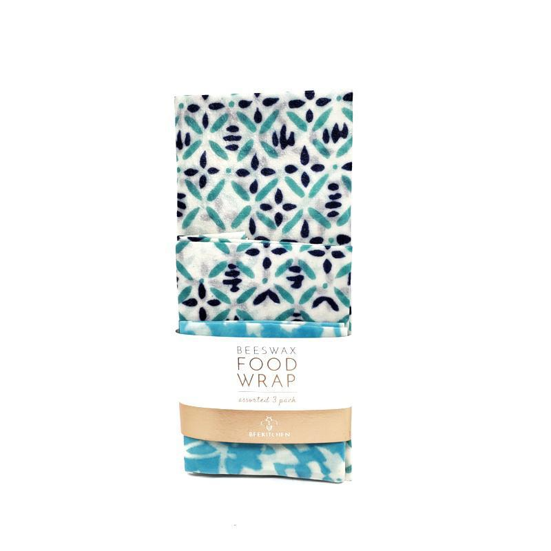 Wraps -  Turquoise Blue Mix - Set of 3 Beeswax Food Wraps by Bee Kitchen