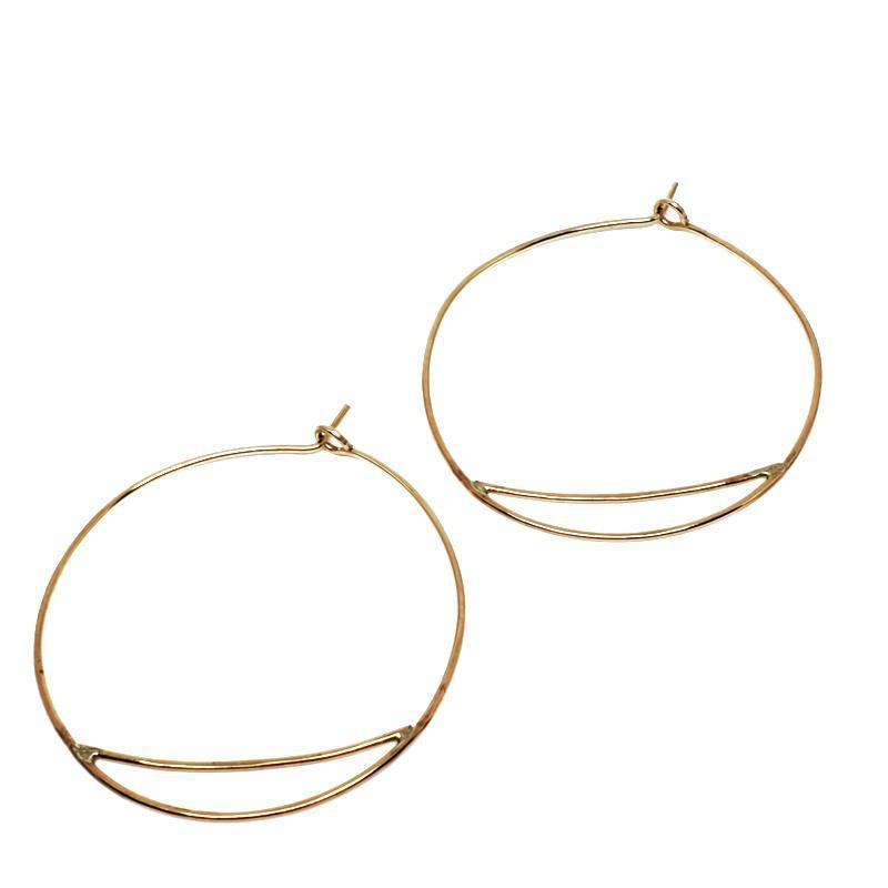 Earrings - Medium Bridge Hoops Gold Fill by Verso Jewelry