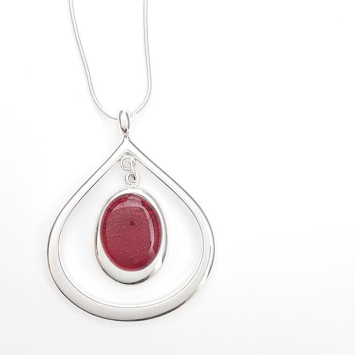 Necklace - Red Teardrop by Glass Elements
