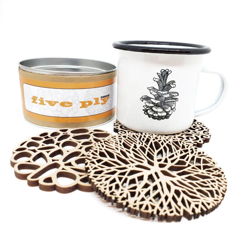 Gift Bundle - Pine Cone Cup and Coasters featuring Red Umbrella and Five Ply Design