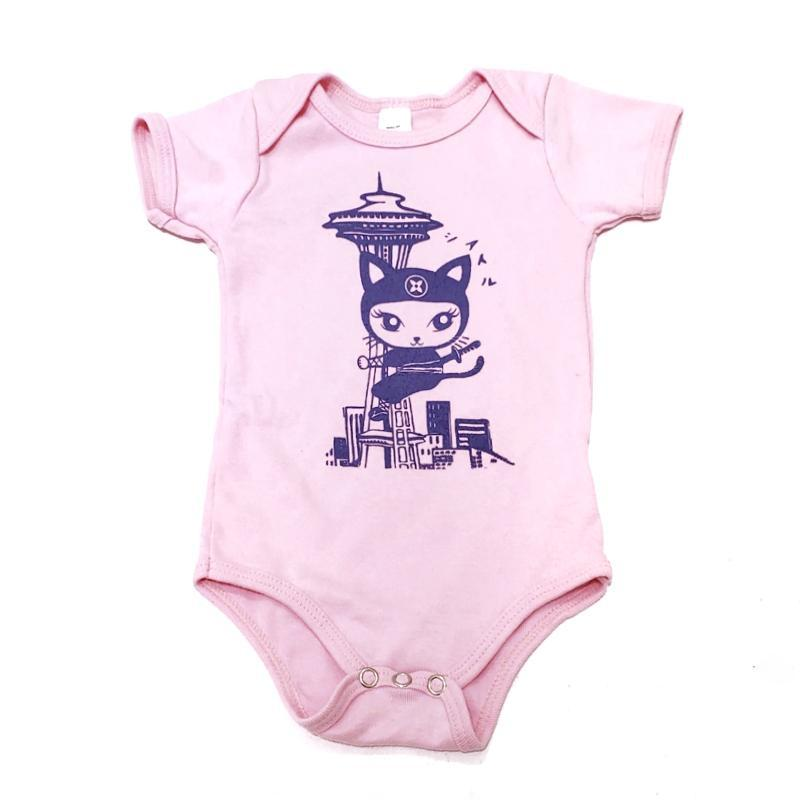 Onesie - Purple Ninja Kitty Space Needle on Pink by Namu