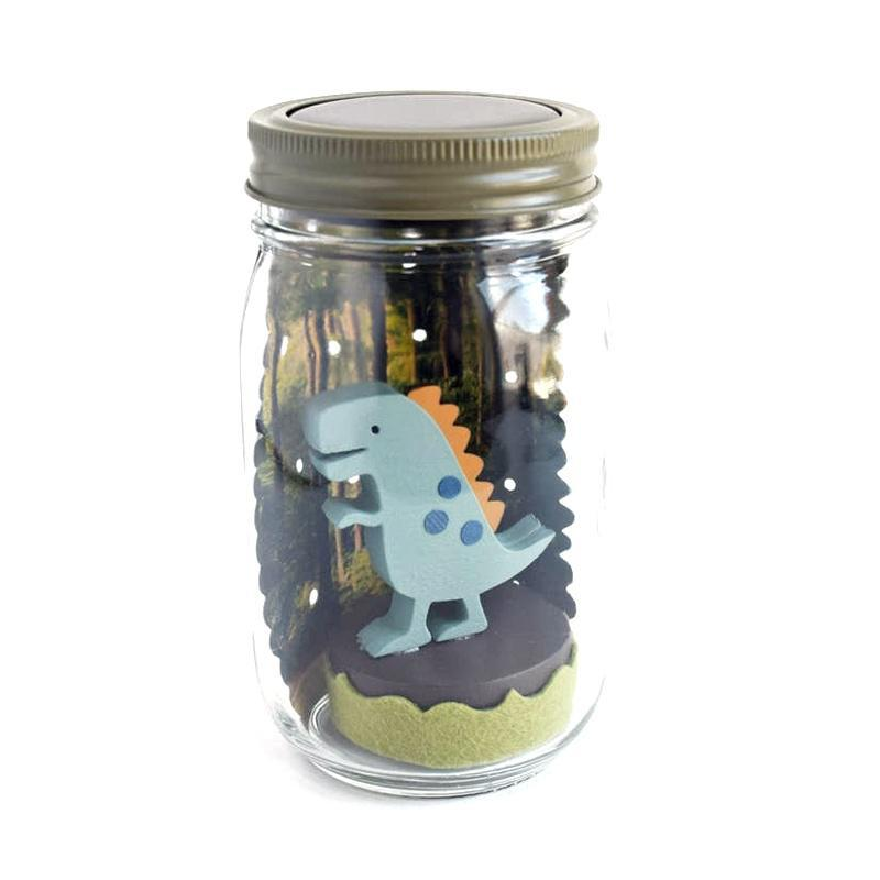 Solar Light - Mason Jar Dinosaur by Tree by Kerri Lee