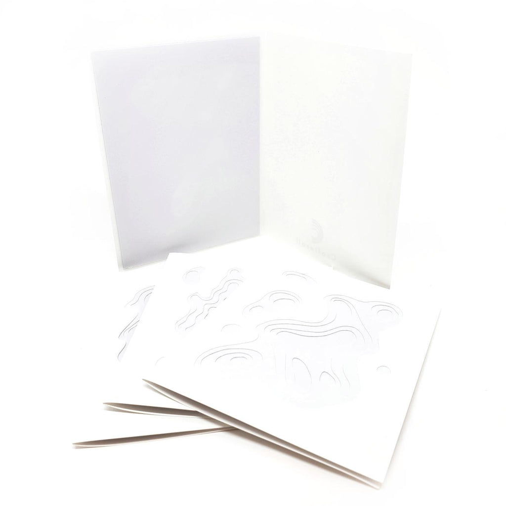 Card Set - Set of 4 Topo Cards - White