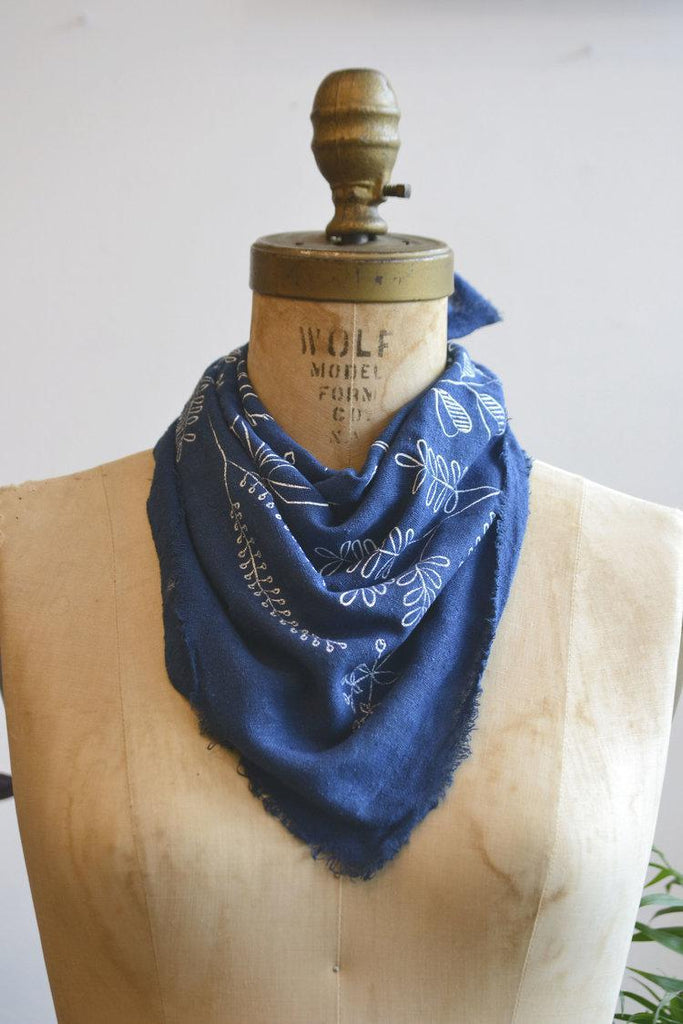 Bandana - Ocean Blue Botanical by Eco Raw Studio