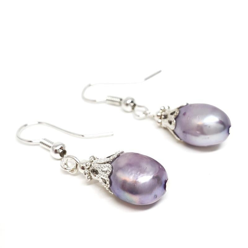 Earrings - Lavender FW pearls Silver plate by Tiny Aloha