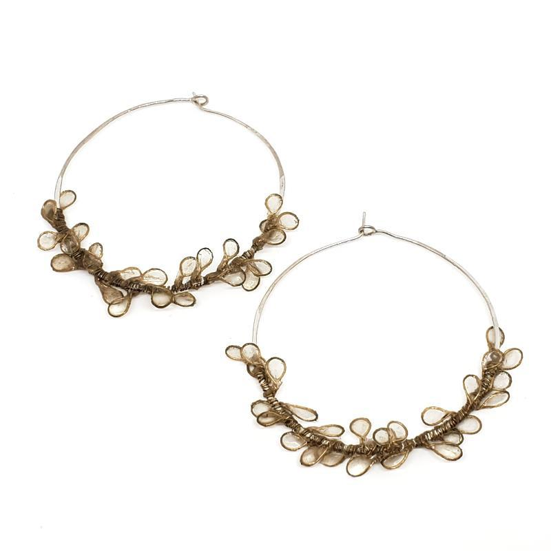 Earrings - Ivory Cherry Blossom Large Hoops by VERSO