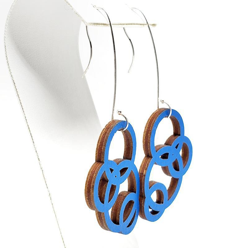 Earrings - Large Long Blue Maple Orbit by Glass Elements