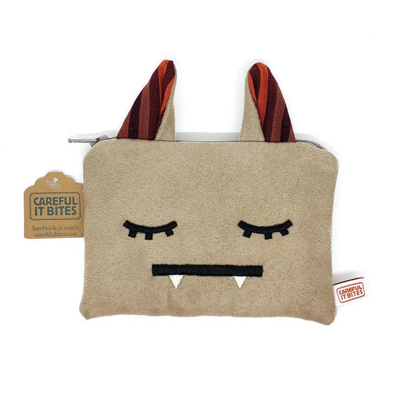 Pouches - Tan Top Ears Sleepy Head Pouch by Careful It Bites