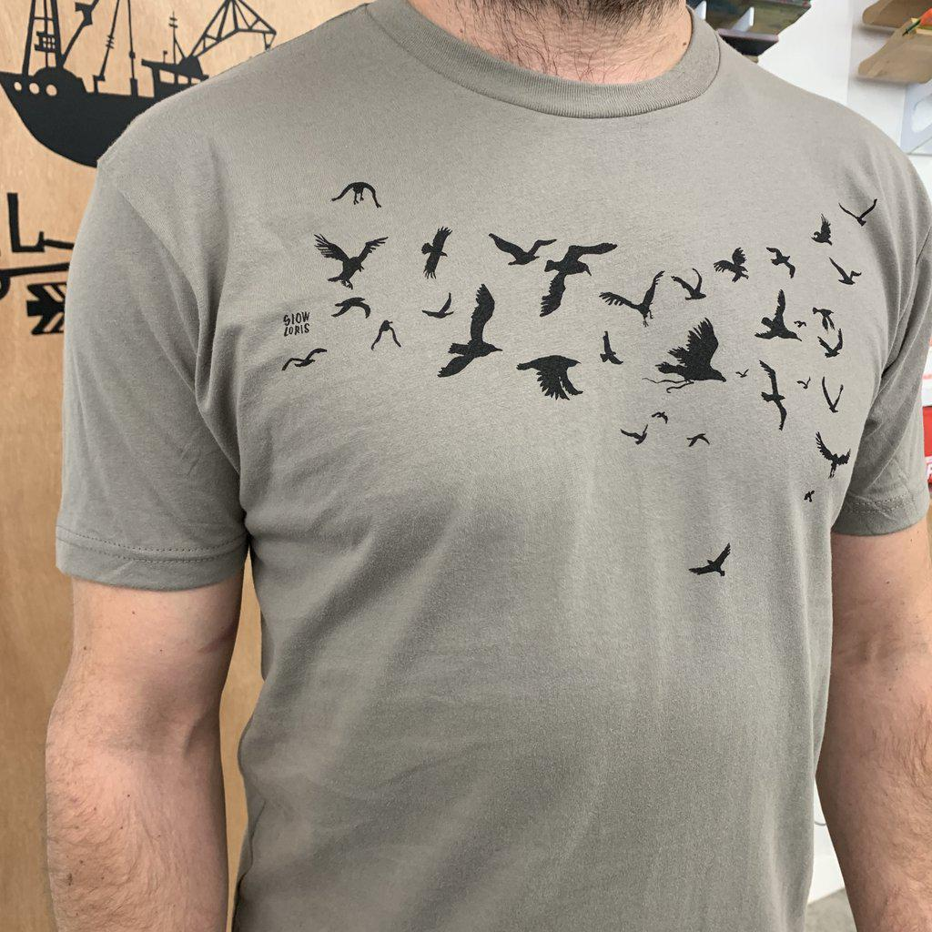 Adult BIRDS(B) Warm Gray Crew Neck Tee by Slow Loris