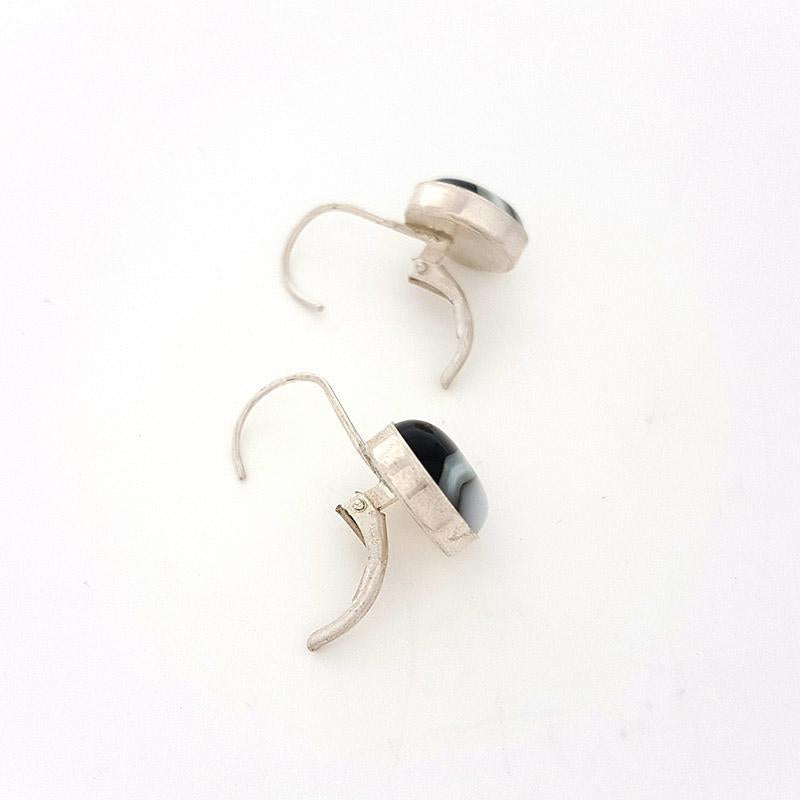 Earrings - Leverback Rounds Black and White by Glass Elements