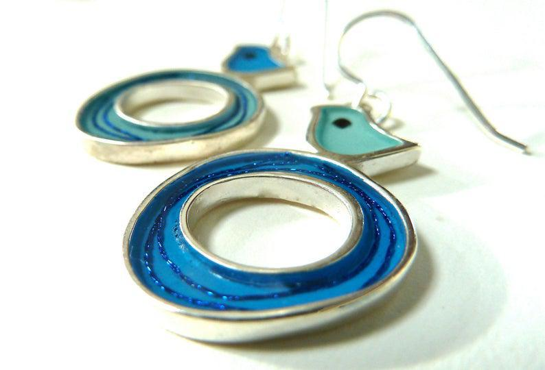 Earrings - Turquoise & Blue Bird Nest by Happy Art Studio