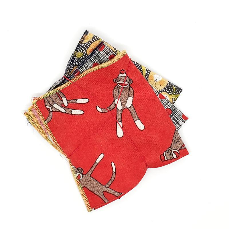 Set of 3 - Small Hankies - Pumpkins, Monkeys, Dots by Wren Bird Arts