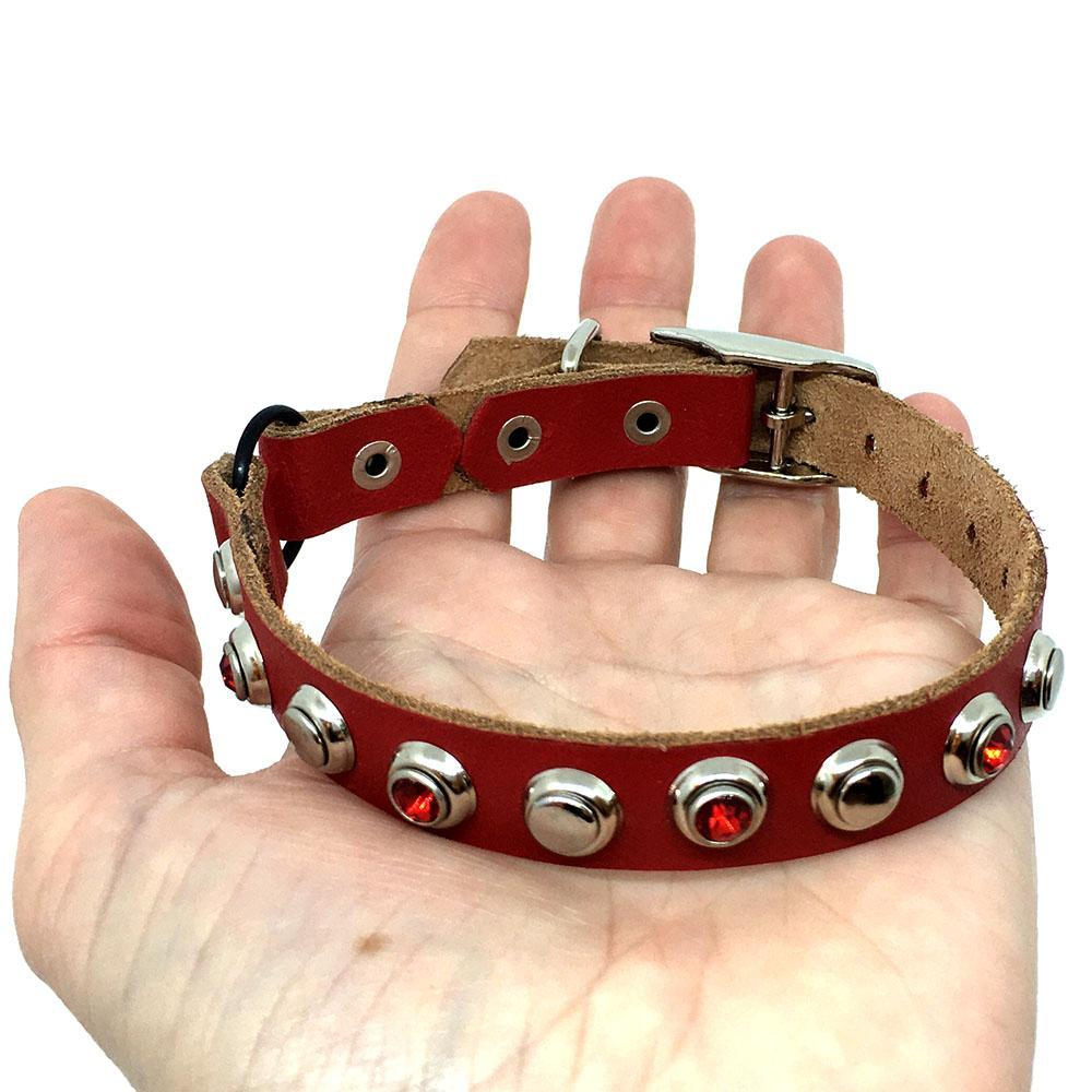 Cat Collar - Red with Red and Clear Gems by Greenbelts