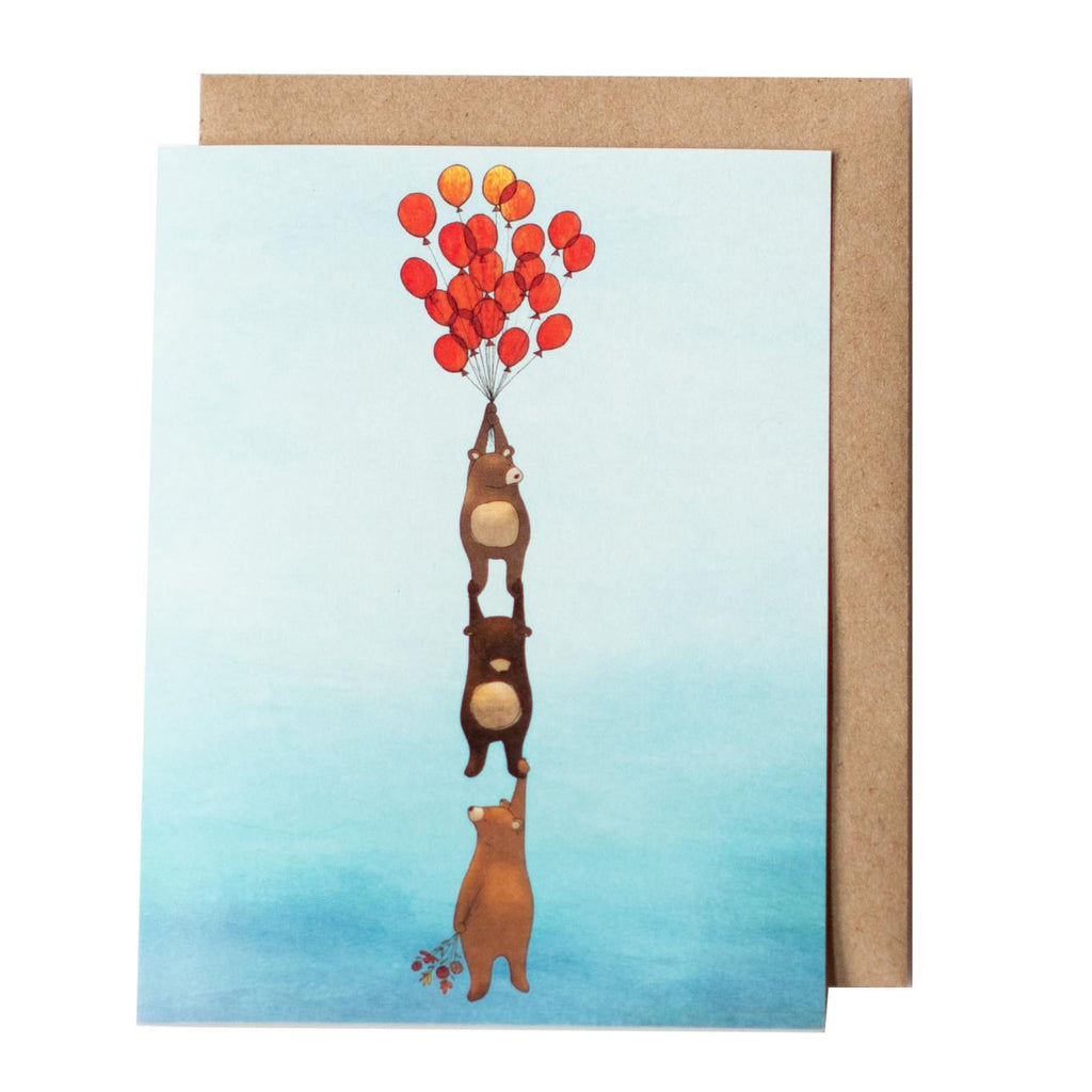 Card - Bears and Balloons by Red Umbrella Designs