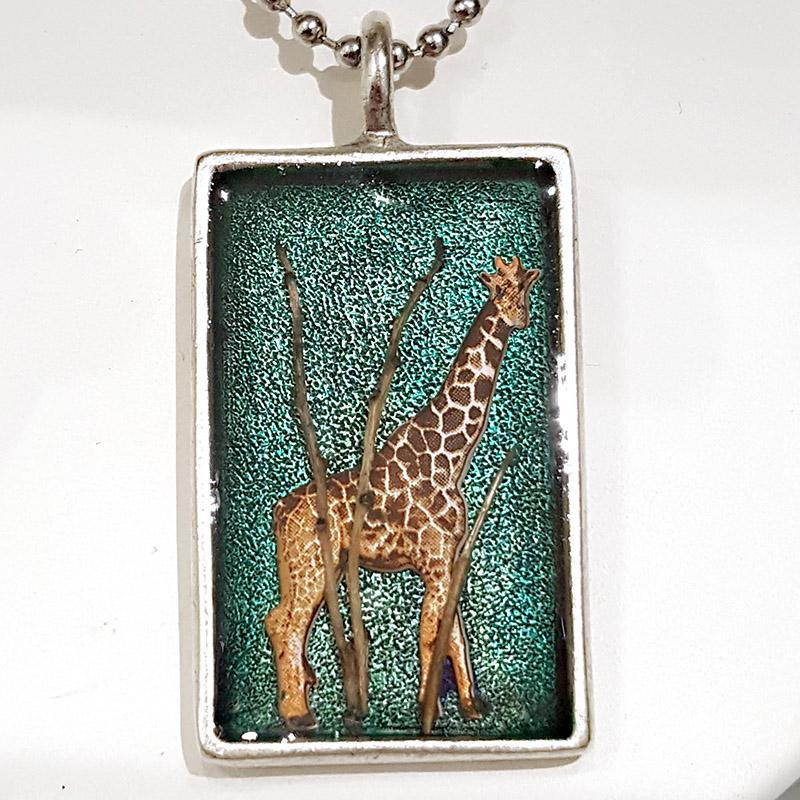 Pendant - Giraffe in the Trees Silver Frame by XV Studios
