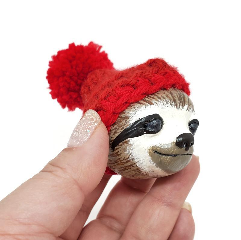 Ornament - Sloth in a Hat Red by Curious Burrow