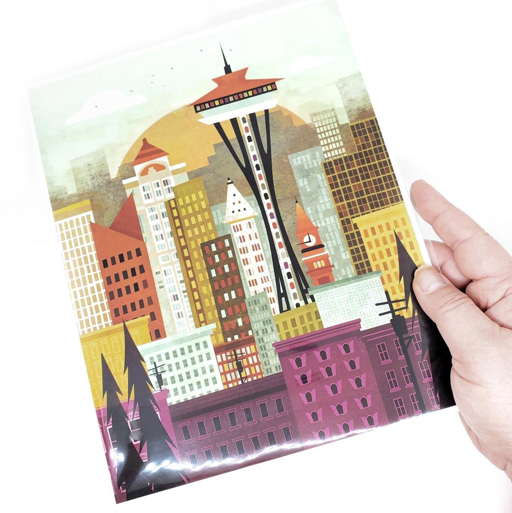 Art Print - 8 x 10 Seattle Space Needle by Amber Leaders Designs