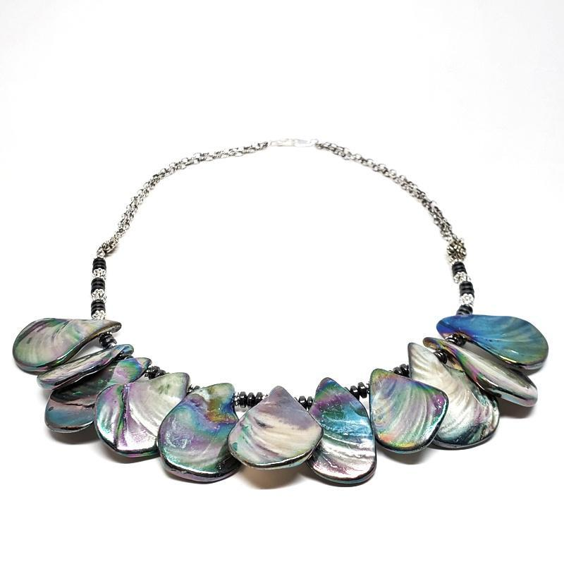 Necklaces - Abalone Shell Bib Silver Plate chain by Tiny Aloha