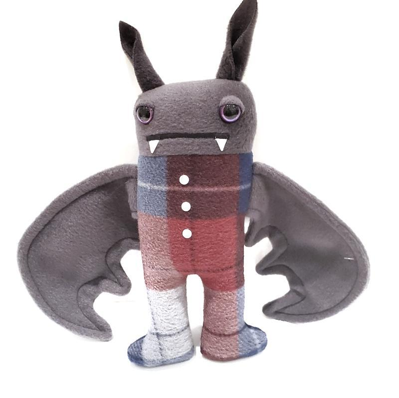 Pajama Bat - Maroon Navy Plaid (Shimmery Purple Eyes) by Careful it Bites