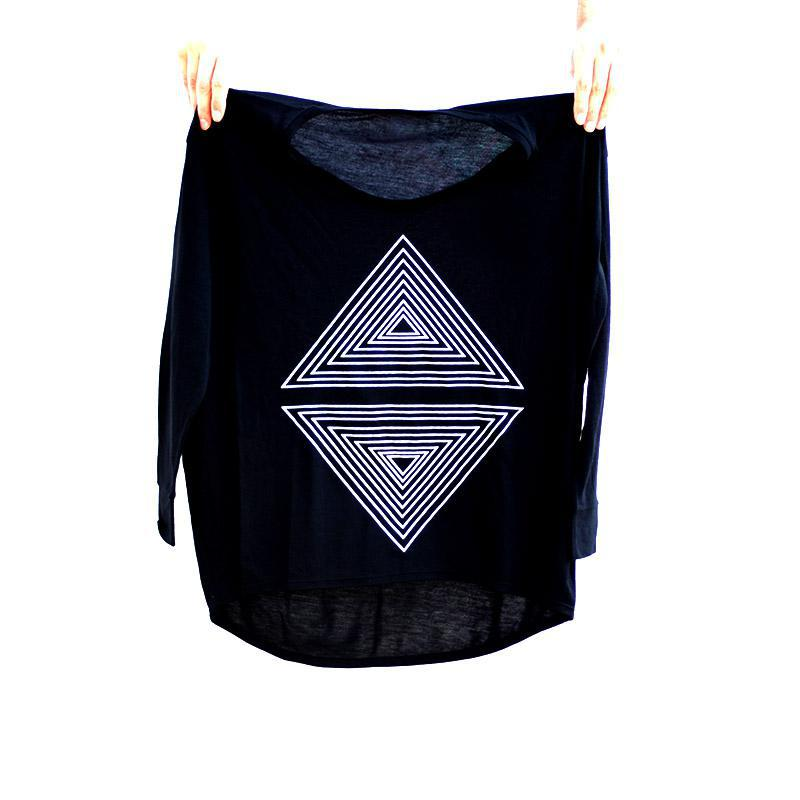 Dolman LS - Deep Black Minimalist Geometric by Blackbird Supply Co.