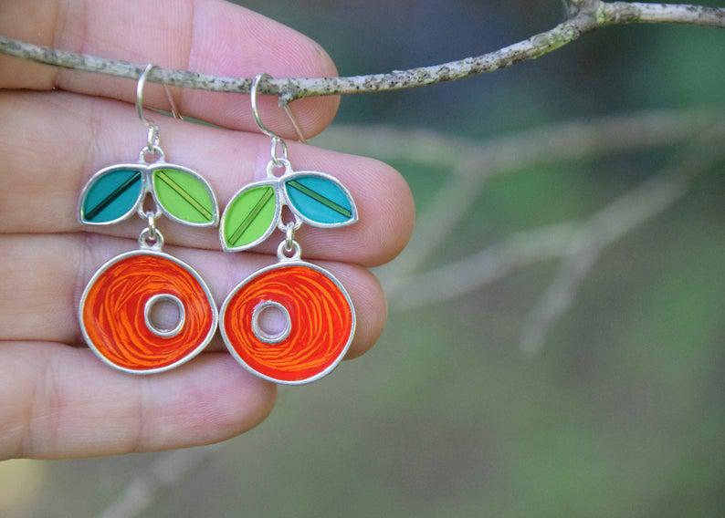 Earrings - Short Dutch Orange Nest Green Leaves by Happy Art Studio