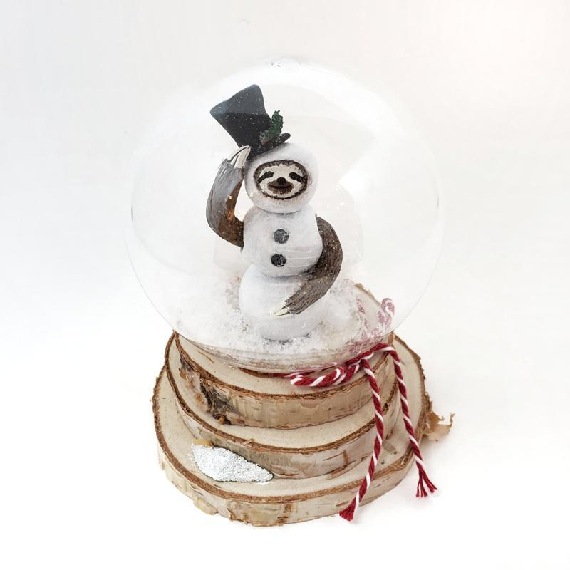 Snow Globe - Sloth in Snowman Suit by Curious Burrow