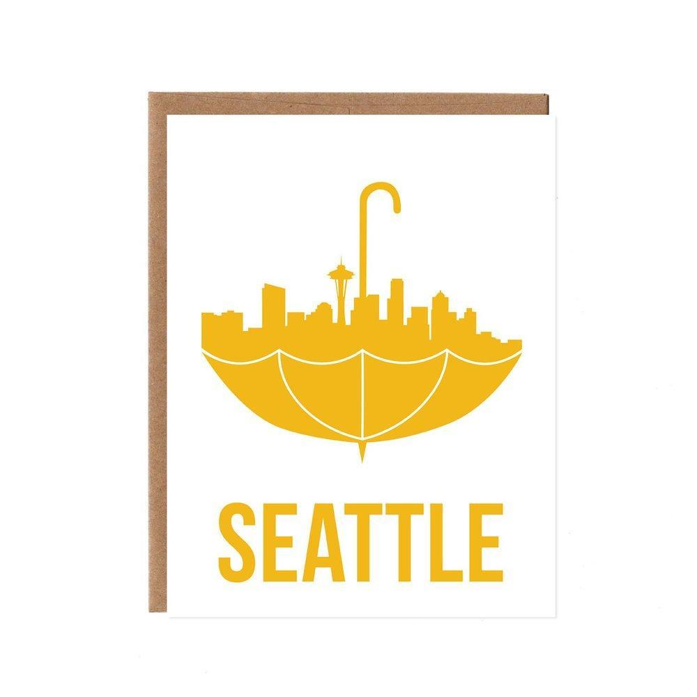 Card - Seattle Yellow Umbrella by Orange Twist