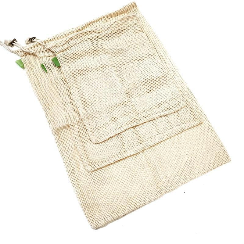 Reusable Bags - Cotton Mesh Produce Set of 3 by Dot and Army
