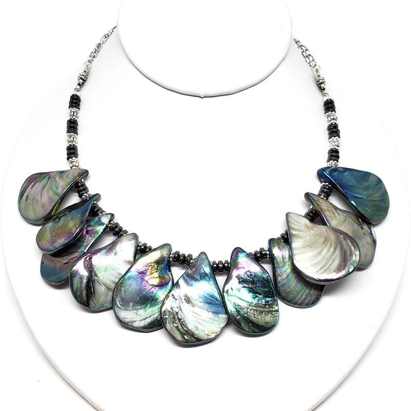 Necklace - Abalone Shell Bib Silver Plate chain by Tiny Aloha