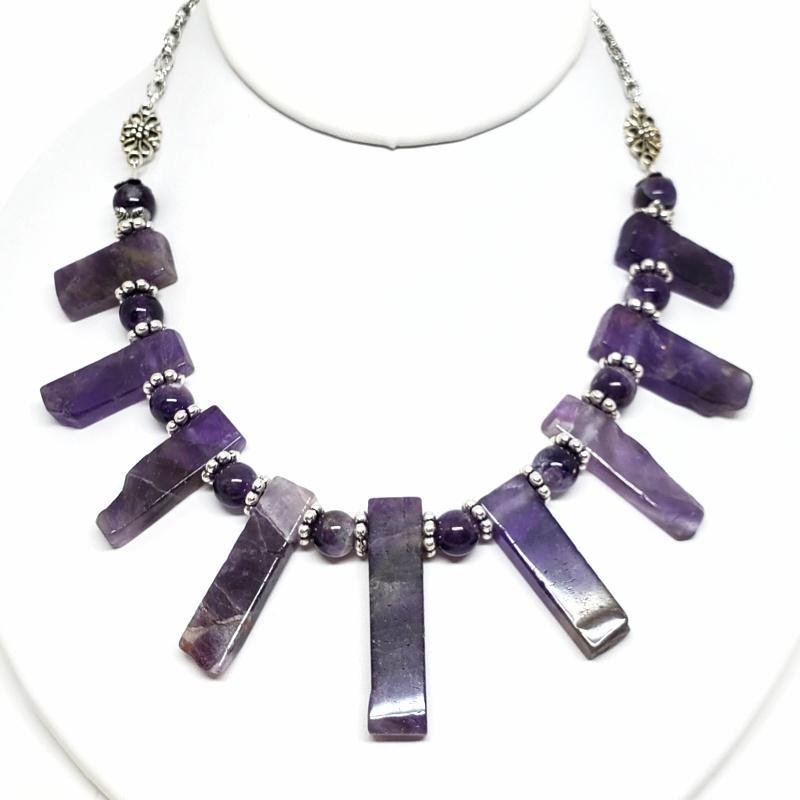 Necklaces - Amethyst Slabs Bib Silver Plate chain by Tiny Aloha