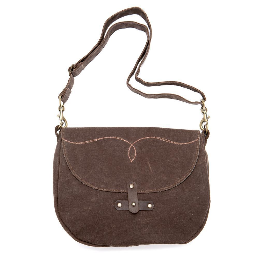 Marlo Purse - Brown Western Waxed Canvas by Queen Bee Creations