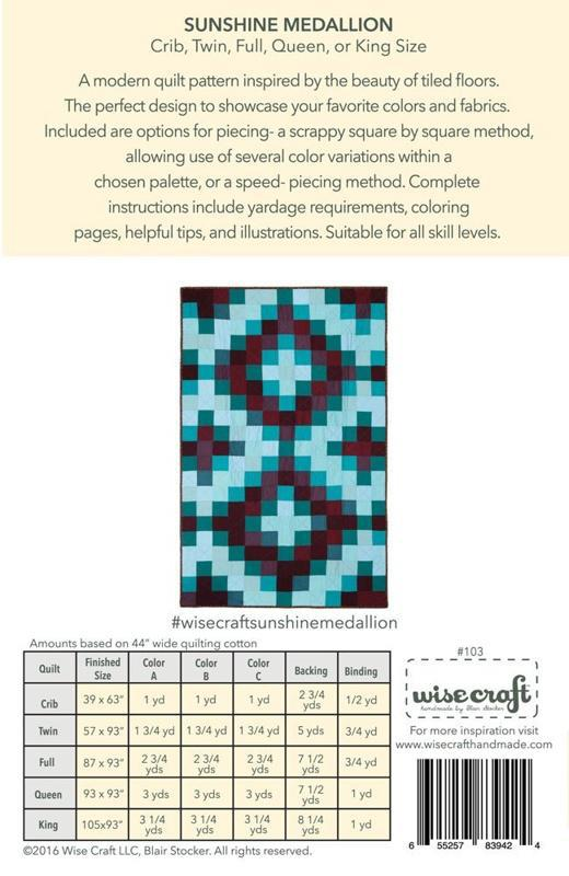 Pattern - Sunshine Medallion Quilt by Wise Craft