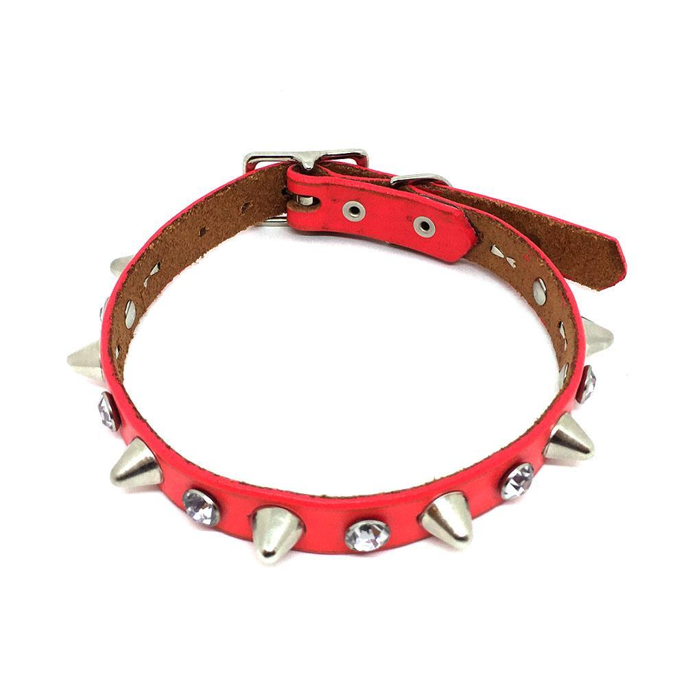 Dog Collar - Med - Red with Crystals and Studs by Greenbelts