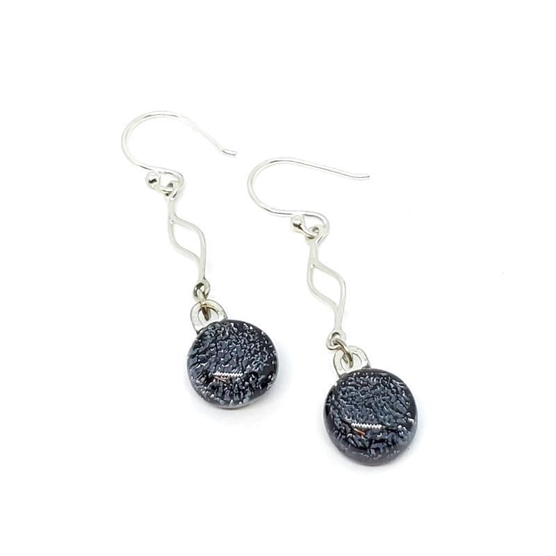 Earrings - Grey Sparkle French Hook Charm Round by Glass Elements
