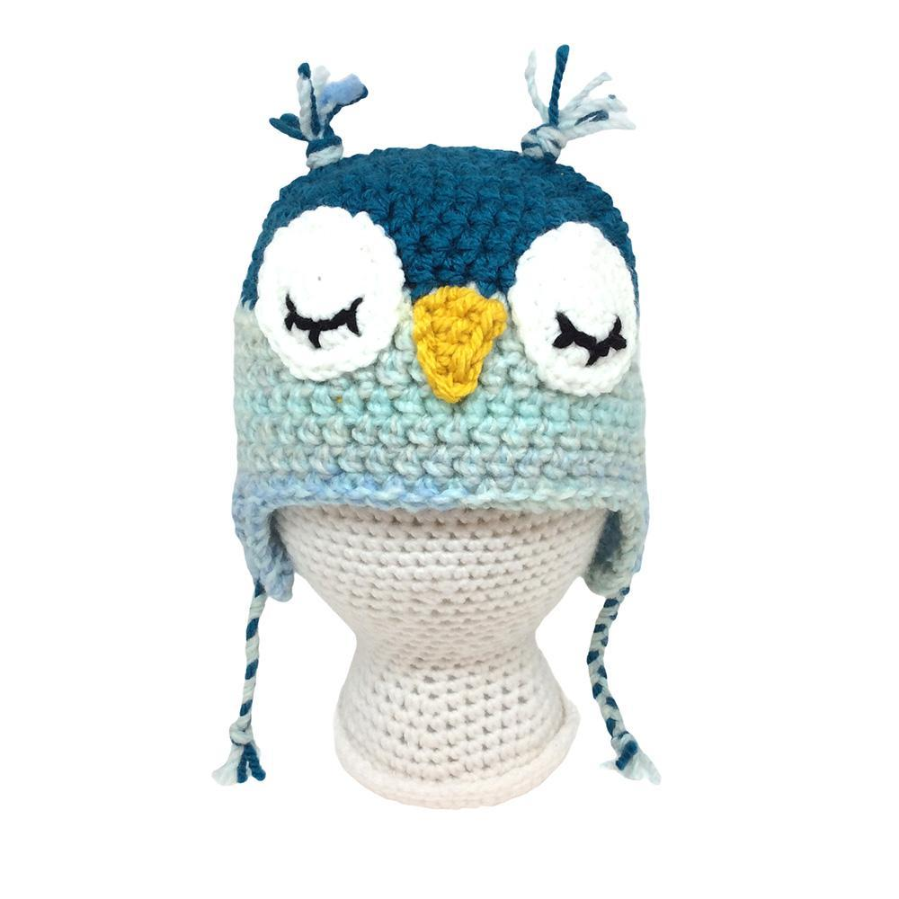 Infant Hat - Owl Teal Light Blue by Scary White Girl
