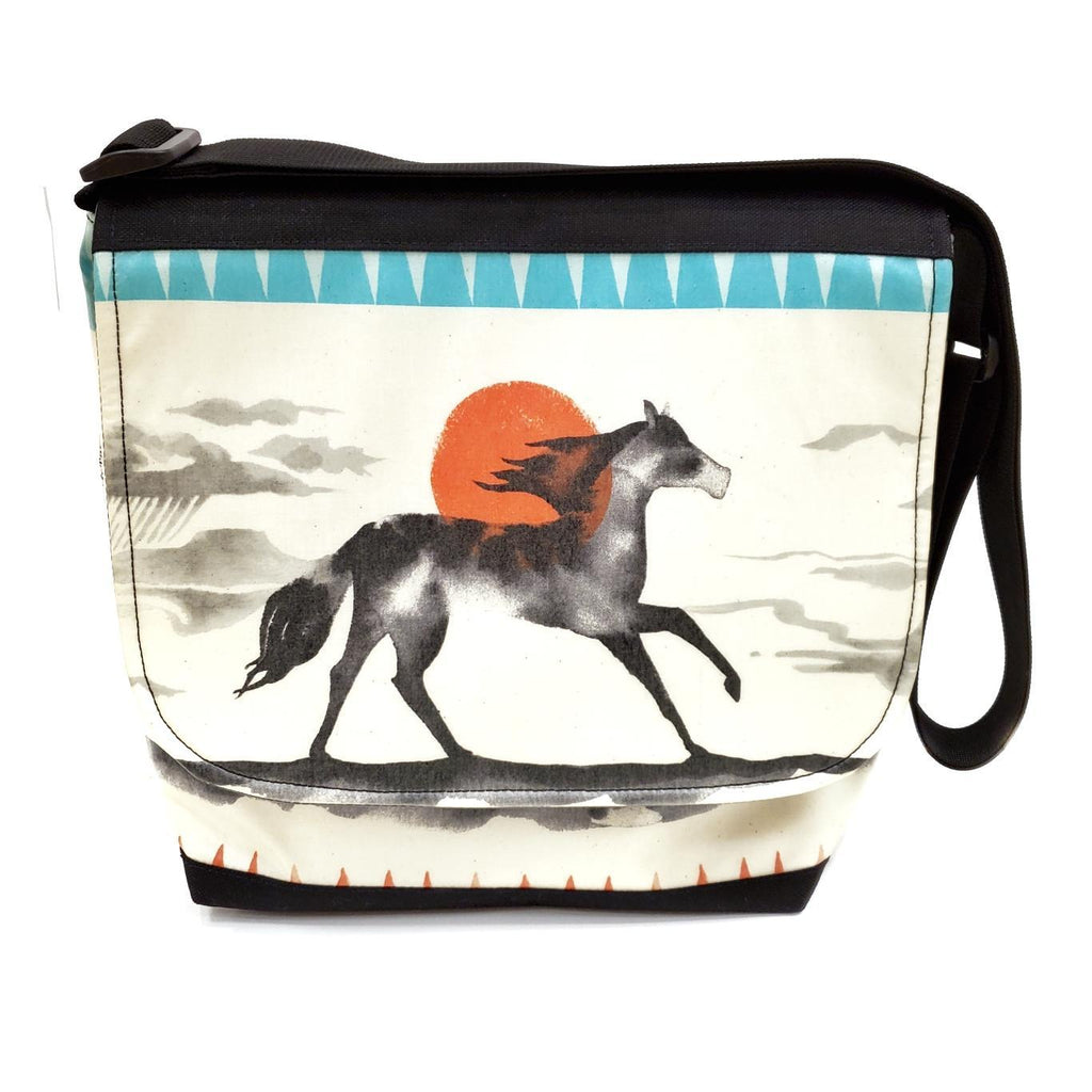 Tall Messenger Bag -  Horse Orange Sun - Reinforced by Laarni and Tita