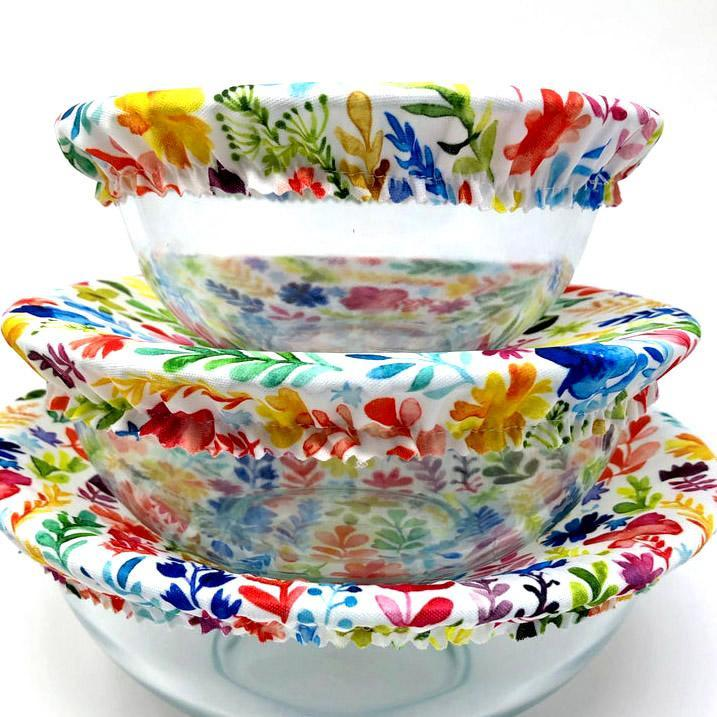 Bowl Covers - Garden Flowers Set of 3 by Semi-Sustainable Goods